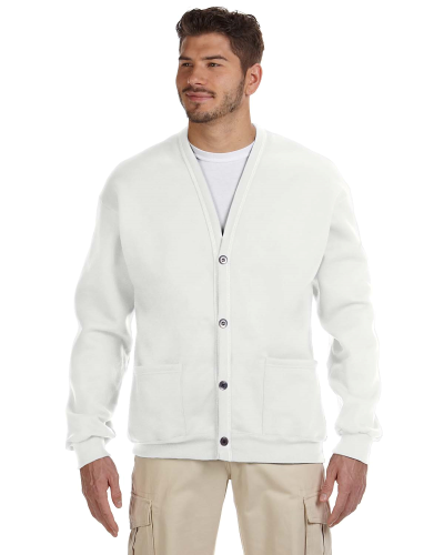 White 8 oz. NuBlend® 50/50 Cardigan as seen from the front