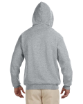Oxford Black 8 oz., 50/50 NuBlend® Contrast Full-Zip Hood as seen from the back