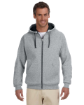Oxford Black 8 oz., 50/50 NuBlend® Contrast Full-Zip Hood as seen from the front