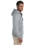 Oxford Black 8 oz., 50/50 NuBlend® Contrast Full-Zip Hood as seen from the sleeveleft