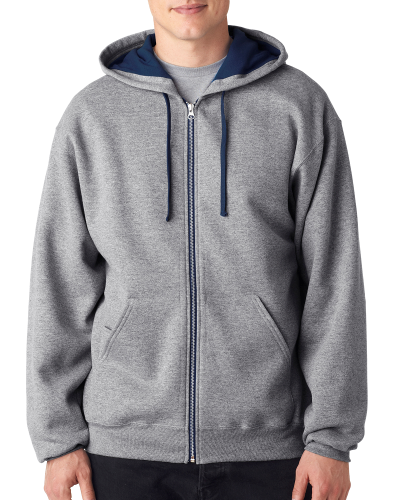 Oxford J Navy 8 oz., 50/50 NuBlend® Contrast Full-Zip Hood as seen from the front
