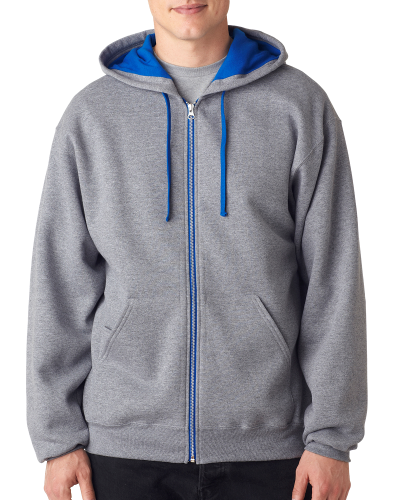 Oxford Royal 8 oz., 50/50 NuBlend® Contrast Full-Zip Hood as seen from the front
