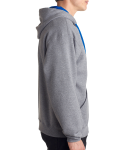 Oxford Royal 8 oz., 50/50 NuBlend® Contrast Full-Zip Hood as seen from the sleeveleft