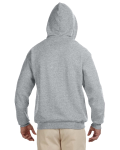 Oxford True Red 8 oz., 50/50 NuBlend® Contrast Full-Zip Hood as seen from the back