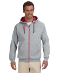 Oxford True Red 8 oz., 50/50 NuBlend® Contrast Full-Zip Hood as seen from the front