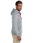 Oxford True Red 8 oz., 50/50 NuBlend® Contrast Full-Zip Hood as seen from the sleeveleft
