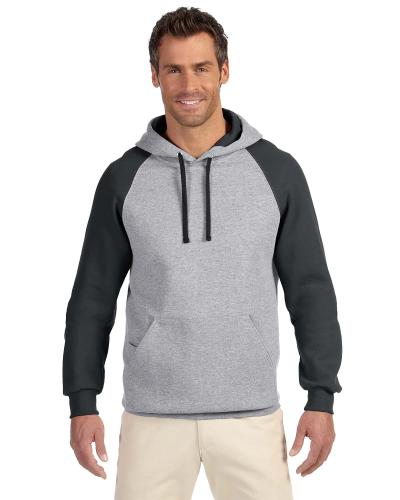8 oz., 50/50 NuBlend® Colorblock Raglan Pullover Hood