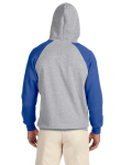 Oxford Royal 8 oz., 50/50 NuBlend® Colorblock Raglan Pullover Hood as seen from the back