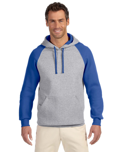 Oxford Royal 8 oz., 50/50 NuBlend® Colorblock Raglan Pullover Hood as seen from the front