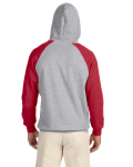 Oxford True Red 8 oz., 50/50 NuBlend® Colorblock Raglan Pullover Hood as seen from the back