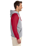 Oxford True Red 8 oz., 50/50 NuBlend® Colorblock Raglan Pullover Hood as seen from the sleeveleft
