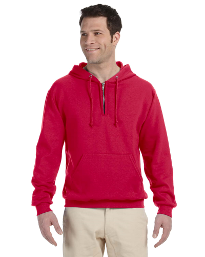 True Red 8 oz., 50/50 NuBlend® Fleece Quarter-Zip Pullover Hood as seen from the front