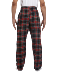 Black Stewart Drawstring Flannel Pant as seen from the back