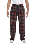 Black Stewart Drawstring Flannel Pant as seen from the front