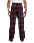 Mossy Plum Drawstring Flannel Pant as seen from the back