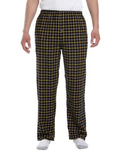 Black Gold Button-Fly Flannel Pant as seen from the front