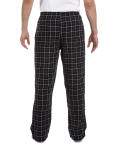 Black Grey Button-Fly Flannel Pant as seen from the back