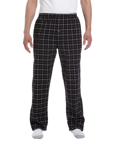 Black Grey Button-Fly Flannel Pant as seen from the front
