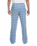 Light Blue Black Button-Fly Flannel Pant as seen from the back