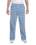 Light Blue Black Button-Fly Flannel Pant as seen from the front