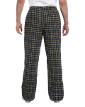 Navy Gold Button-Fly Flannel Pant as seen from the back