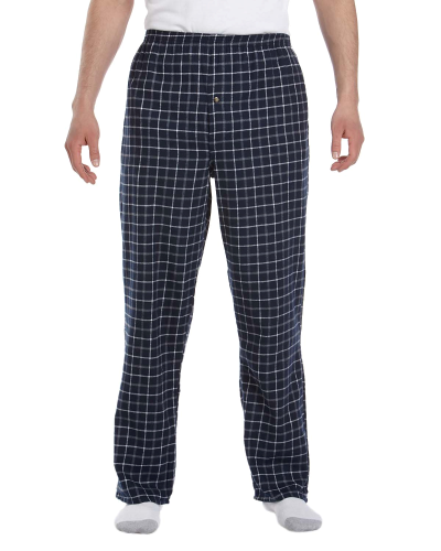 Navy Grey Button-Fly Flannel Pant as seen from the front