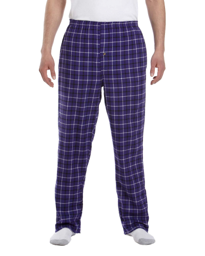 Purple Black Button-Fly Flannel Pant as seen from the front