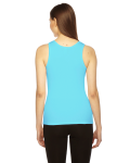 Aqua MADE IN USA Ladies' Rib Boy Beater Tank as seen from the back