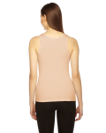 Creme MADE IN USA Ladies' Rib Boy Beater Tank as seen from the back