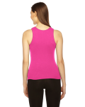 Fuchsia MADE IN USA Ladies' Rib Boy Beater Tank as seen from the back