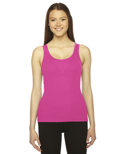 Fuchsia MADE IN USA Ladies' Rib Boy Beater Tank as seen from the front