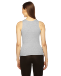 Heather Grey MADE IN USA Ladies' Rib Boy Beater Tank as seen from the back