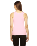 Pink MADE IN USA Ladies' Rib Boy Beater Tank as seen from the back