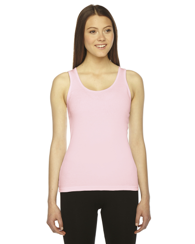 Pink MADE IN USA Ladies' Rib Boy Beater Tank as seen from the front