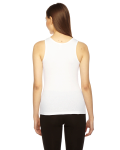 White MADE IN USA Ladies' Rib Boy Beater Tank as seen from the back