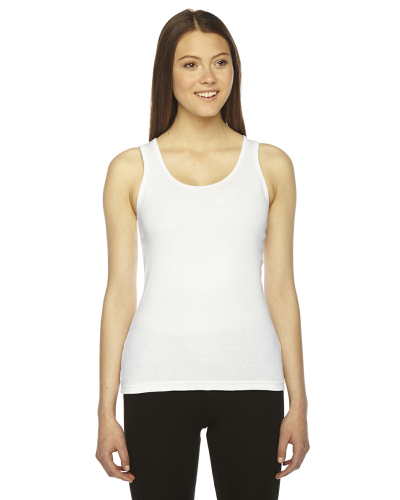 White MADE IN USA Ladies' Rib Boy Beater Tank as seen from the front