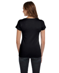 Black Ladies' Baby Rib Short-Sleeve Scoop Neck T-Shirt as seen from the back