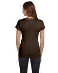 Chocolate Ladies' Baby Rib Short-Sleeve Scoop Neck T-Shirt as seen from the back