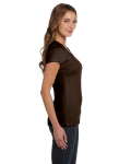 Chocolate Ladies' Baby Rib Short-Sleeve Scoop Neck T-Shirt as seen from the sleeveleft