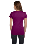 Currant Ladies' Baby Rib Short-Sleeve Scoop Neck T-Shirt as seen from the back