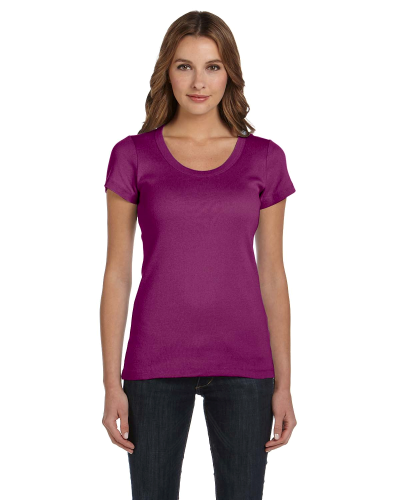Currant Ladies' Baby Rib Short-Sleeve Scoop Neck T-Shirt as seen from the front