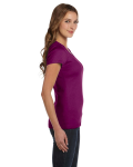 Currant Ladies' Baby Rib Short-Sleeve Scoop Neck T-Shirt as seen from the sleeveleft