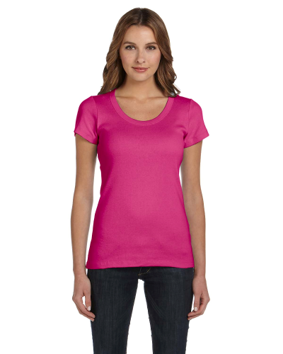 Raspberry Ladies' Baby Rib Short-Sleeve Scoop Neck T-Shirt as seen from the front