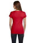 Red Ladies' Baby Rib Short-Sleeve Scoop Neck T-Shirt as seen from the back