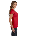 Red Ladies' Baby Rib Short-Sleeve Scoop Neck T-Shirt as seen from the sleeveleft