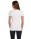 White Ladies' Baby Rib Short-Sleeve Scoop Neck T-Shirt as seen from the back