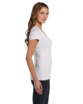 White Ladies' Baby Rib Short-Sleeve Scoop Neck T-Shirt as seen from the sleeveleft