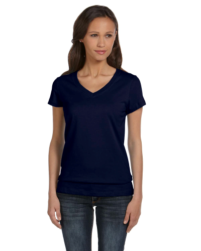 Navy Ladies' Jersey Short-Sleeve V-Neck T-Shirt as seen from the front