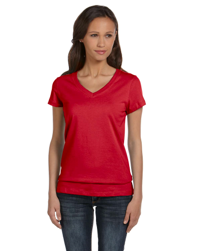 Red Ladies' Jersey Short-Sleeve V-Neck T-Shirt as seen from the front
