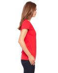 Red Ladies' Jersey Short-Sleeve V-Neck T-Shirt as seen from the sleeveleft